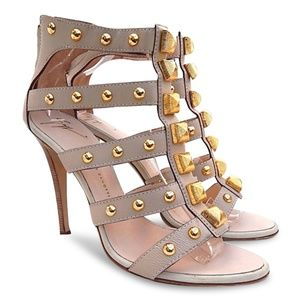 NEW Large Studded Gladiator Heel Sandals -Nude